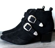 WOMENS BLACK COWBOY CHELSEA BIKER SMART WORK POINTY ANKLE BOOTS SHOES SIZE 6 , 7