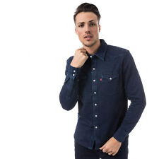 Mens Levis Barstow Denim Shirt In Indigo- Popper Button Fastening- Long Sleeves-