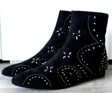 WOMENS BLACK EMBELLISHED CHELSEA BIKER SMART WORK POINTY ANKLE BOOTS SHOES SIZE