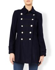 Monsoon Navy Mariana doppio MILITARE LANA TRINCEA Giacca invernale