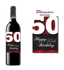 Red Happy 50th Birthday Glossy Wine & Champagne Bottle Gift Present Label