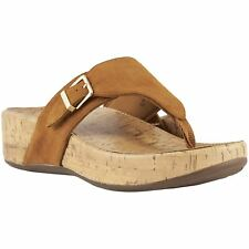 Vionic Pacific Marbella Caramel Womens Suede Post-Toe Slip-On Wedge Sandals