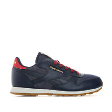 Junior Boys Reebok Classic Leather Dg Trainers In Navy- Lace Fastening