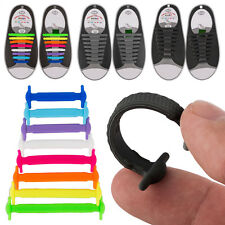 16pcs Shoe Laces Lazy Elastic Silicone Shoelaces No Tie Running Sneakers Strings