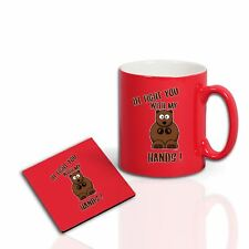 Printed fight you..Bear Hands Funny Mug Coaster dad father son uncle Gift Set