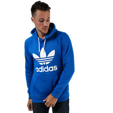 Mens adidas Originals Trefoil Hoody In Blue- Hooded With Adjustable Drawcords