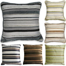 "Luxury STRIPED Chenille Suede Filled Cushions or Cushion Covers 18"" / 45cm"