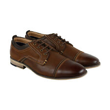 Steve Madden P-Kolton Mens Brown Leather Casual Dress Lace Up Oxfords Shoes