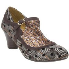 New Womens Ruby Shoo Brown Lexi Textile Shoes Floral Buckle