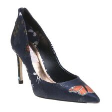 New Womens Ted Baker Blue Multi Saviop Textile Shoes High Heels Slip On