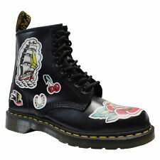 Dr.Martens 1460 Chris 8-Eyelet Black Multi Womens Backhand Leather Combat Boots