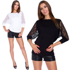 Ladies Casual Blouse 3/4 Sleeves With Lace Boat Neck Batwing Womens Top 6047