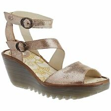 Fly London Yisk 837 Luna Camel Womens Leather Ankle Strap Wedge Sandals