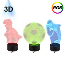3D LED RGB 7 Color Change Night Light Smart Touch Button Table Desk Bedside Lamp