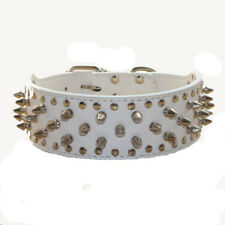 2'' Wide Leather Spiked Studded Dog Collars for Pitbull Terrier Husky Boxer