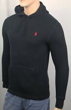 Polo Ralph Lauren Black Waffle Thermal Pullover Hoodie Red Pony NWT