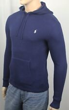 Polo Ralph Lauren Navy Blue Waffle Thermal Pullover Hoodie White Pony NWT