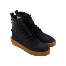 Puma Xo Parallel Tactical Mens Black Canvas & Leather High Top Sneakers Shoes