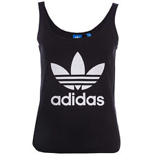 Womens adidas Originals Trefoil Crop Tank Top In Black From Get The Label