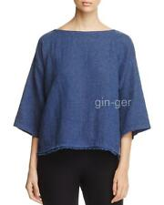 NWT $178 EILEEN FISHER Organic Linen Cotton Doublweave Fringed Box Top DENIM S M