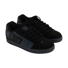 DC Net Se Mens Black Leather Sneakers Lace Up Skate Shoes