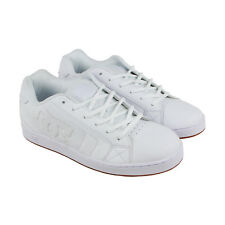 DC Net  Mens White Nubuck & Leather Sneakers Lace Up Skate Shoes