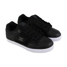 DC Pure Se Mens Black Leather Sneakers Lace Up Skate Shoes