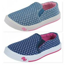 NEW GIRLS LEATHER INSOLES BLUE CANVAS SLIP ON SNEAKERS PLIMSOLLS TRAINERS SHOES