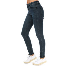 Womens Vero Moda High Waist Skinny Fit Jeans In Dark Blue Denim / Black Wash