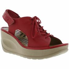Fly London Jart 862 Lipstick Red Womens Leather Ankle Strap Wedge Sandals