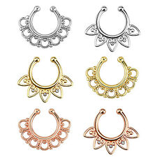 Piercing de Nariz Fake Septum Ring Placa Vintage Tribal Compartimentos Anillo