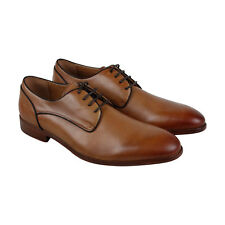 Steve Madden Husk Mens Tan Leather Casual Dress Lace Up Oxfords Shoes