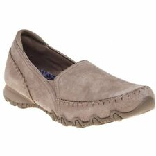 New Womens Skechers Tan Grey Bikers Suede Trainers Flats Slip On