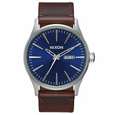 Nixon Sentry Leather Mens Watch - Blue Brown One Size