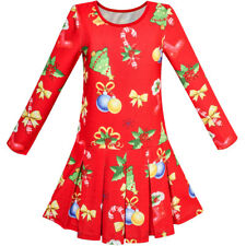Sunny Fashion Robe Fille Rouge Noël Arbre Noël Tinter Cloche Vacances