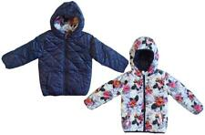Girls Minoti Reversible Quilted Floral Navy Hooded Coat Anorak 3 to 8 Years