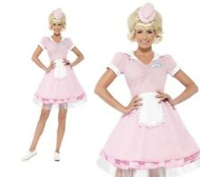 Donna Diner Costume da Bambina Anni 50 Rosa Rock N Roll Vestito UK 4-18