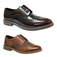 Base London Rothko Hi-Shine Leather Smart Lace-Up Brogue Derby Mens Shoes