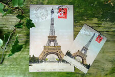 Vintage French Eiffel tower postcard save the date,wedding invitations & rsvps