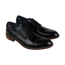 Steve Madden P-Exec Mens Black Leather Casual Dress Lace Up Oxfords Shoes