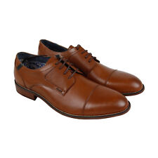 Steve Madden P-Eratic Mens Tan Leather Casual Dress Lace Up Oxfords Shoes