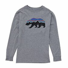 Patagonia Graphic Organic Boys T-shirt Long Sleeve - Fitz Roy Bear: Gravel