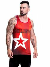 Jor 0475 Men's Printed Tank Top Mesh Muscle Shirt Sleeveless T-Shirt
