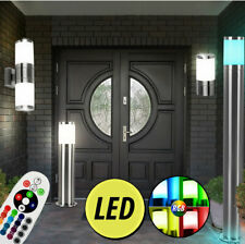 Acero Inox. Led Exterior Pared Lámparas RGB Mando a Distancia de Pie Luces Up