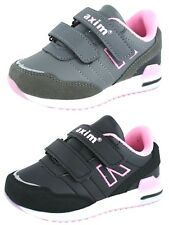 NEW GIRLS LEATHER INSOLE BLACK TRAINERS SPORTS PLIMSOLLS WALKING SCHOOL SHOES UK
