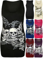 New Women Halloween Forever Young Skull Racer Back Sleeveless Ladies Vest Top