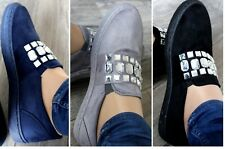 WOMENS WIDE FIT SLIP ON FLAT LOAFERS CREEPERS TRAINERS BROGUES PUMPS SIZE 3-8