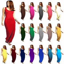 Women Racer Maxi Dress Ladies Jersey Long Vest Muscle Back Plus Size