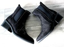 LADIES WOMENS BLACK FLAT ANKLE CHELSEA CAUSAL LOW HEEL PULL ON SHOES BOOTS SIZE