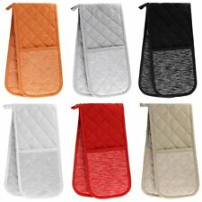 Double Oven Gloves Tuscany 100% Heat Resistant Cotton Padded Oven Mitts